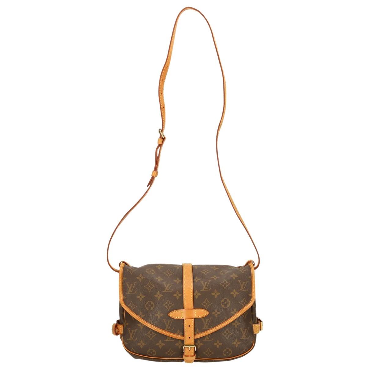 Louis Vuitton - Sac a main Saumur pour femme en toile - marron