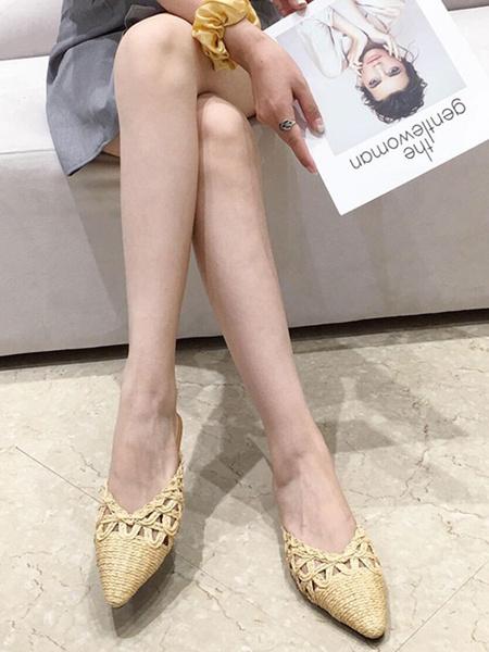 Milanoo White Flat Mules Women Pointed Toe Slip On Slide Shoes