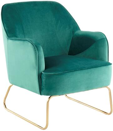Daniella Collection CHR-DANIELLASL AUGN Sleigh Accent Chair with High Backrest  Foam Padded Cushion  Contemporary Style  Metal Sleigh Painted Steel