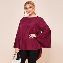 Plus Solid Rib-Knit Flounce Sleeve High Low Blouse