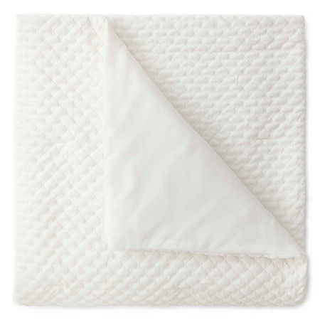 JCPenney Home Quilted Diamond Ruched Throw, One Size , White