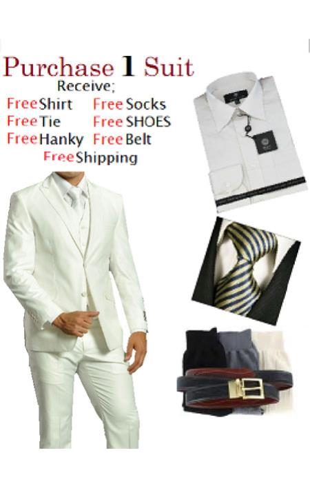 2Button Solid White Tuxedo Suit Shirt Free Tie and Hankie Package