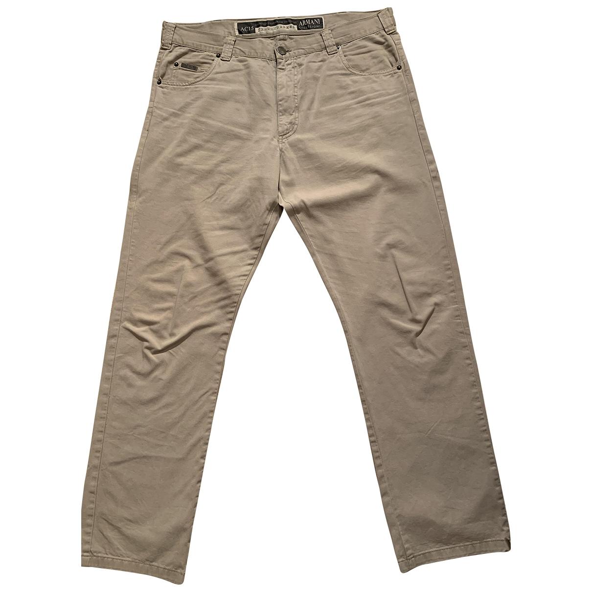 Armani Collezioni \N Beige Cotton Trousers for Men 38 UK - US