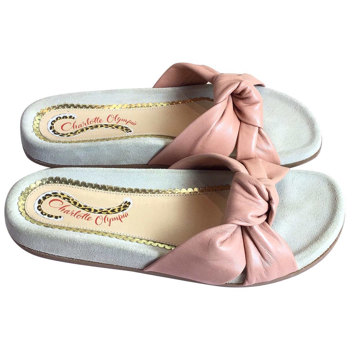 Charlotte Olympia - Sandales   pour femme en cuir - rose