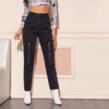 High Waist Zip Front Jeans