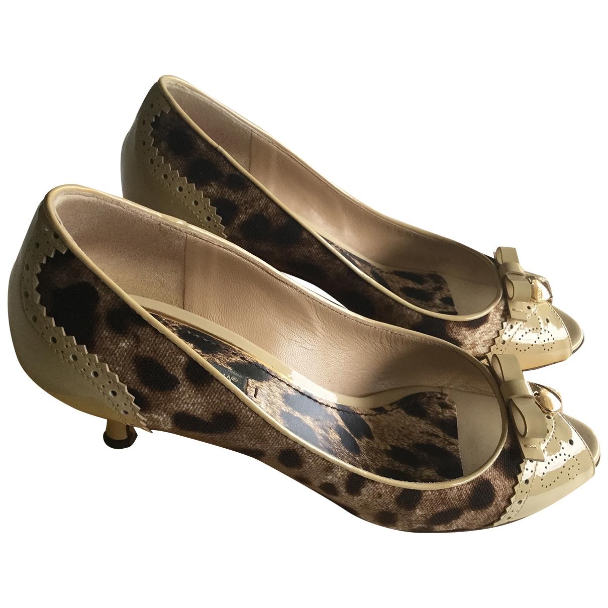 Dolce & Gabbana - Escarpins   pour femme en toile - camel