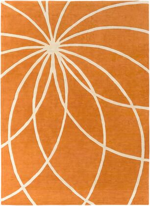 Forum FM-7175 8 x 11 Rectangle Modern Rug in Burnt Orange