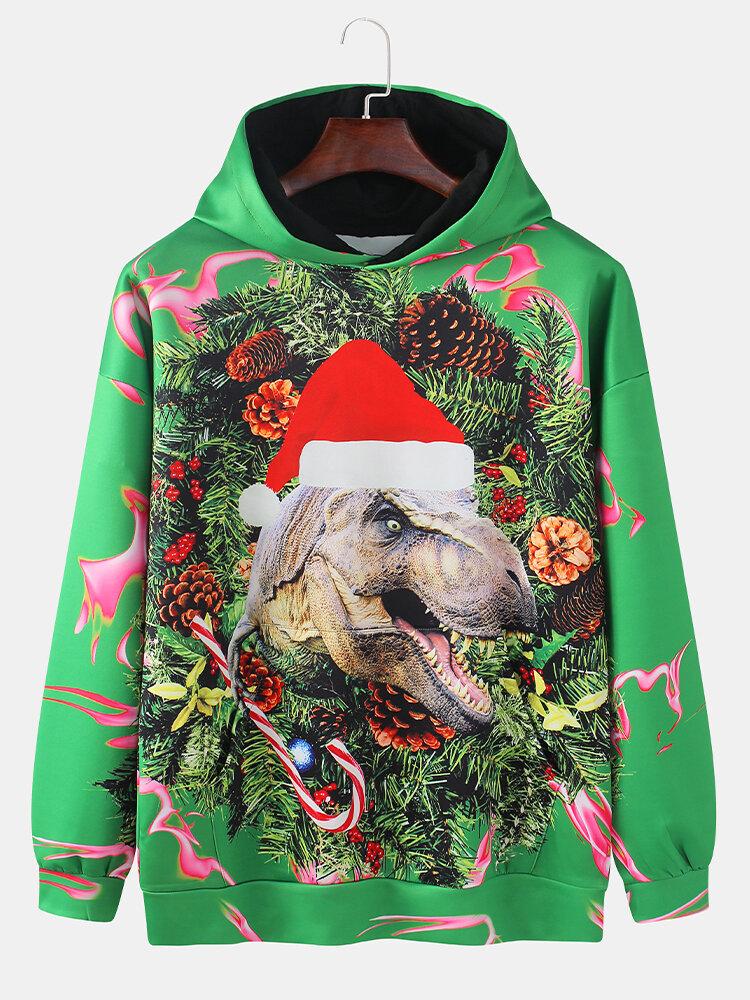 Mens Christmas Dinosaur Print Drop Shoulder Casual Pouch Pocket Hoodies