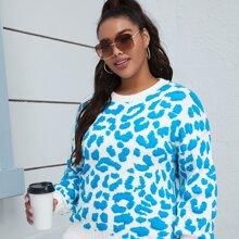 Pullover mit sehr tief angesetzter Schulterpartie und Dalmatiner Muster