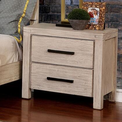Strasburg Collection CM7382WH-N Night Stand With Metal Bar Handles In Wire-Brushed