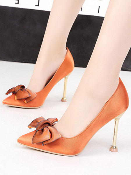 Milanoo Satin High Heels Women Evening Shoes Pointed Toe Bow Slip On Party Shoes