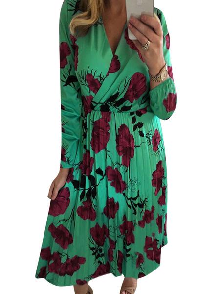 Milanoo Boho Dress V-Neck Long Sleeves Flower Printed Summer Dress