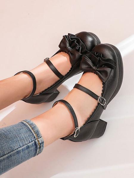 Milanoo Lolita dulce bombean los zapatos de cuero de la PU arcos gruesos del talon de Lolita