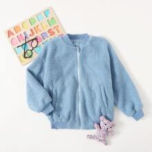 Boys Zipper Front Letter Embroidered Teddy Jacket