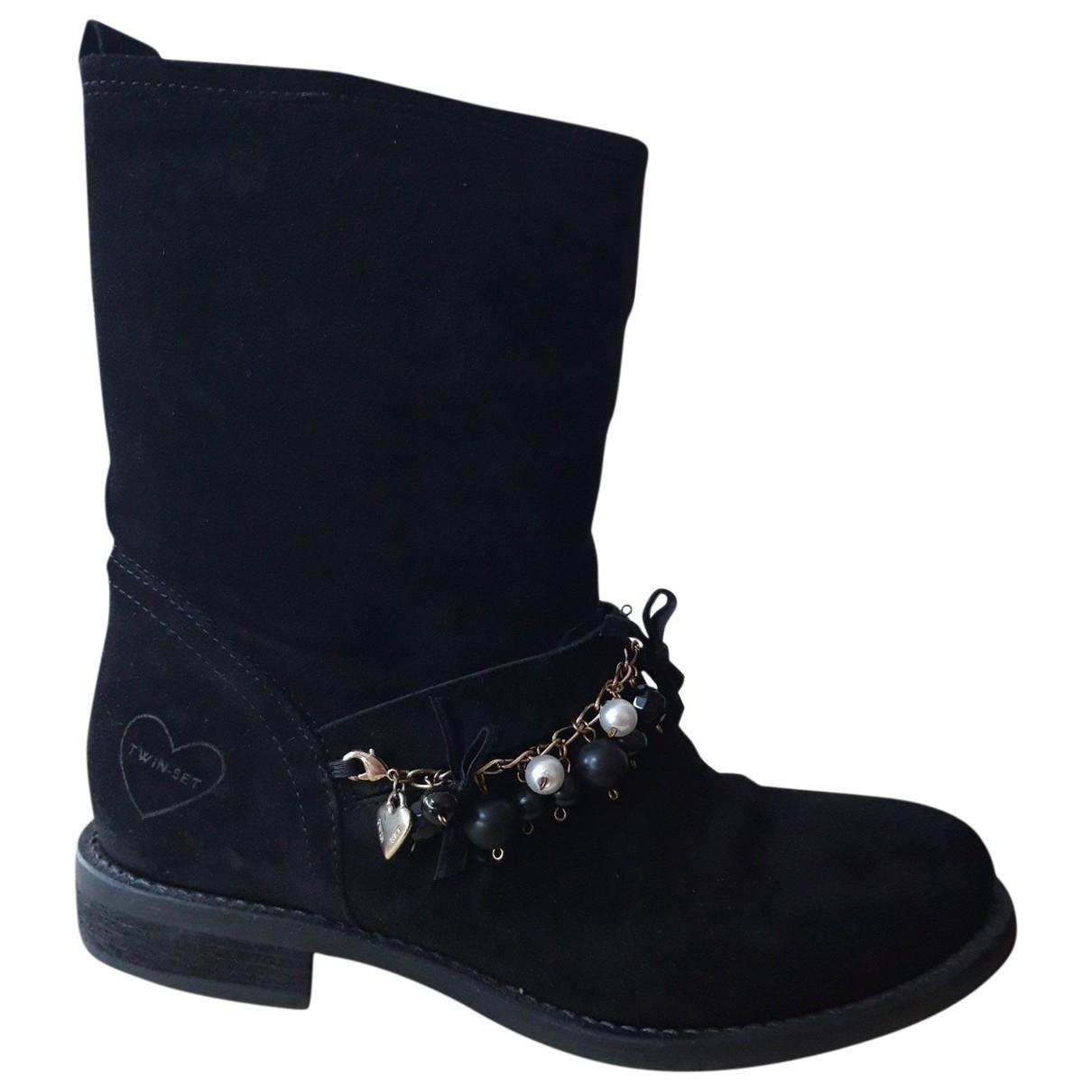 Twin Set - Boots   pour femme en suede - noir