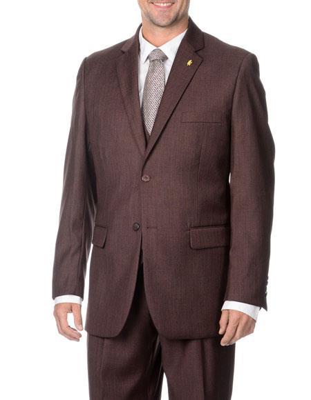 Men's Two Button Stylish 3-Piece Raisin Vested Suits Flat Front Pant