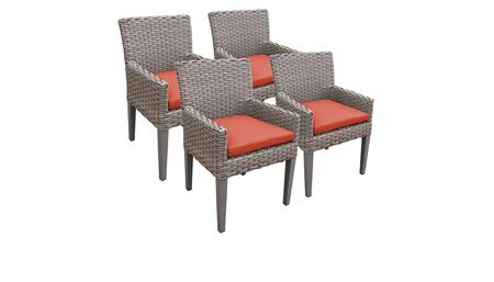 Monterey Collection MONTEREY-TKC297b-DC-2x-C-TANGERINE 4 Dining Chairs With Arms - Beige and Tangerine