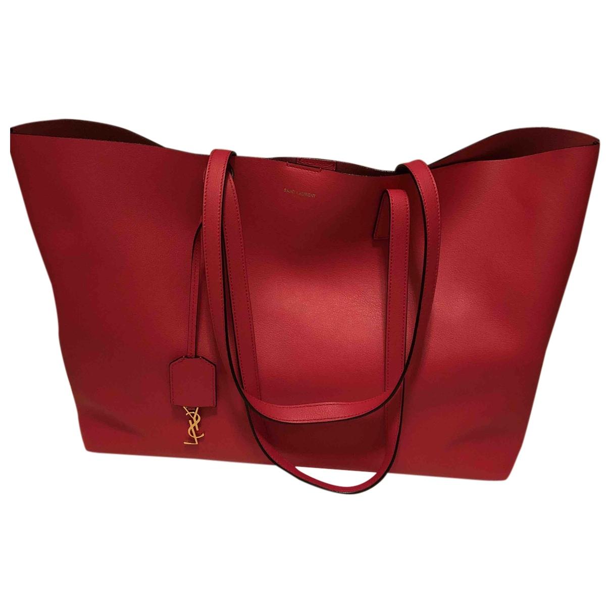 Saint Laurent - Sac a main Shopping pour femme en cuir - rose