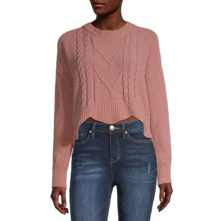 Almost Famous-Juniors Womens Crew Neck Long Sleeve Pullover Sweater, Large , Pink