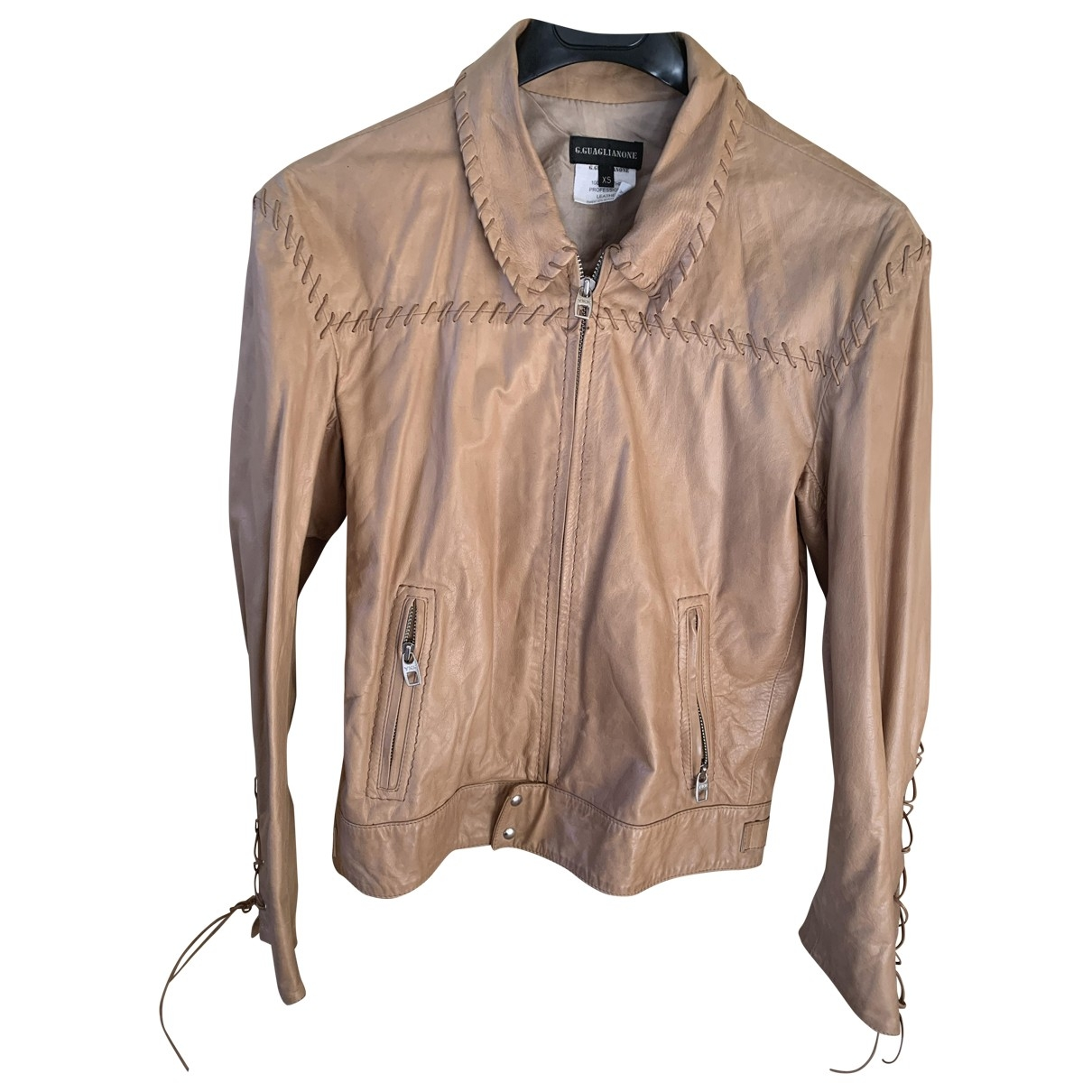 Non Signé / Unsigned \N Beige Leather jacket for Women XS International