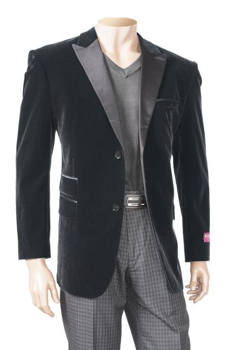 Black Mens Big/Tall Blazers Velvet Velour Cheap Blazer/Sport Coat