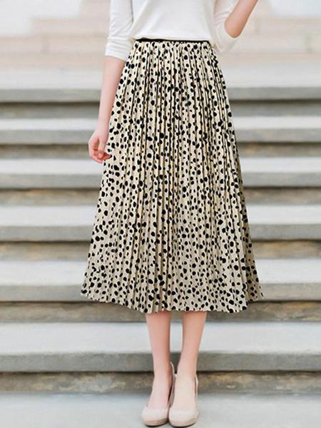 Milanoo Chiffon Skirt Pleated Print Swing Skirt