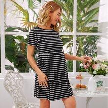 Maternidad vestido de rayas de cintura elastica