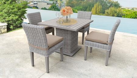 Coast Collection COAST-SQUARE-KIT-4ADCC-WHEAT Patio Dining Set with 1 Table   4 Side Chairs - Beige and Wheat
