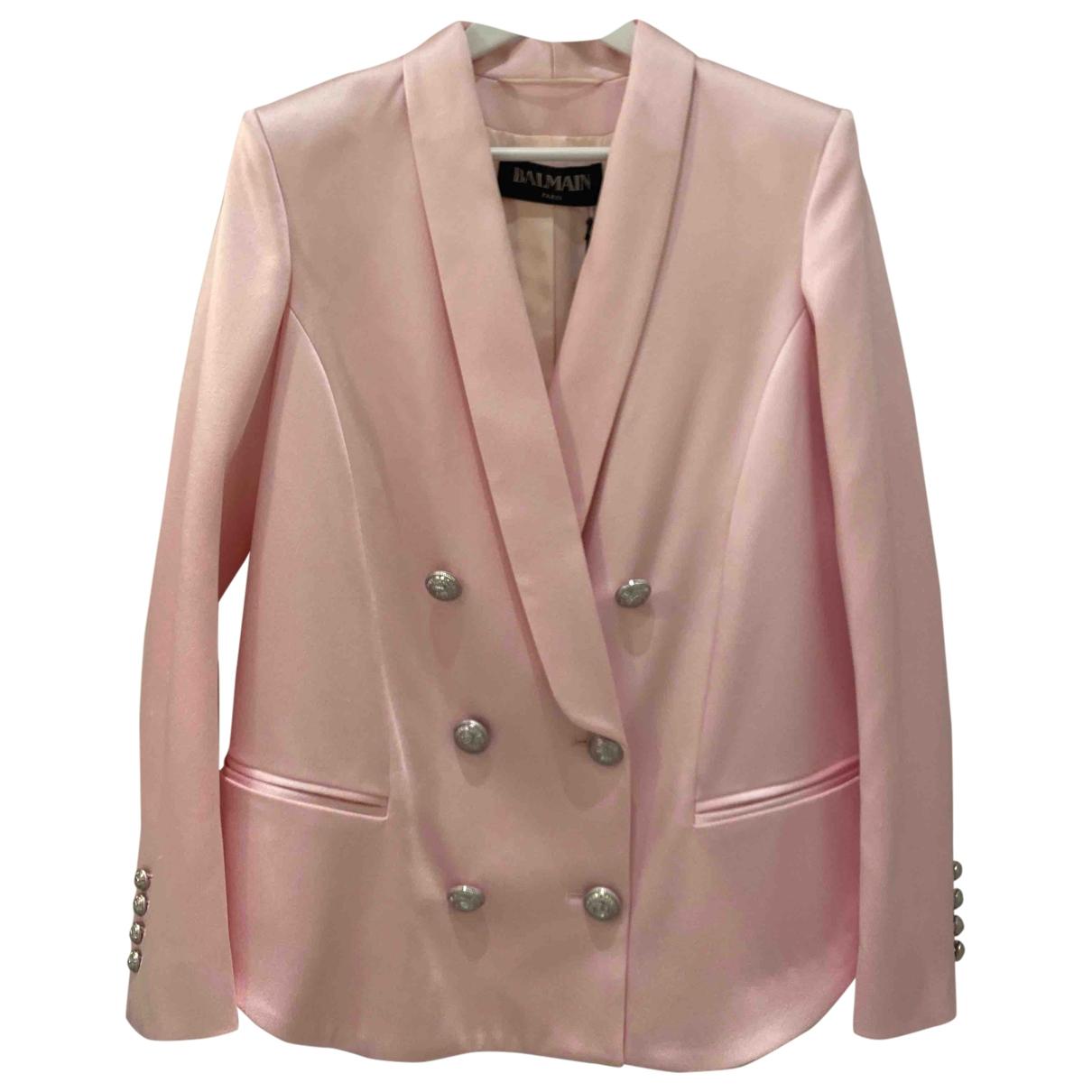 Balmain \N Pink Silk jacket for Women 42 FR