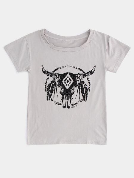 Yoins Grey Horn Print Round Neck Short Sleeves Tee