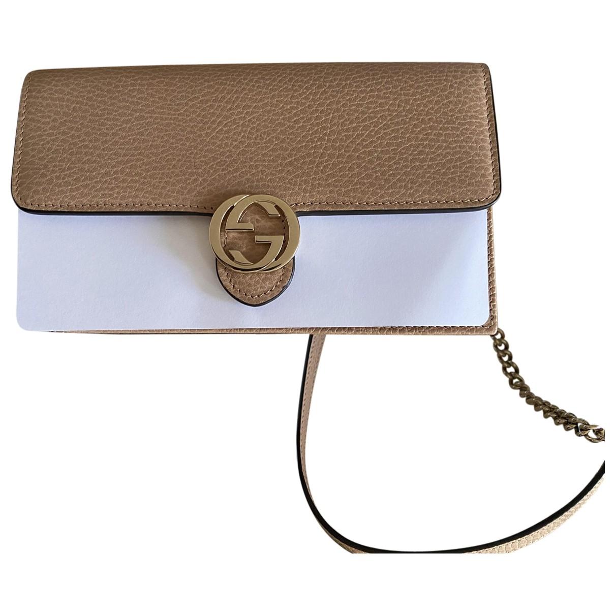 Gucci Interlocking Beige Leather handbag for Women \N
