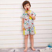 Toddler Boys Animal Print PJ Set