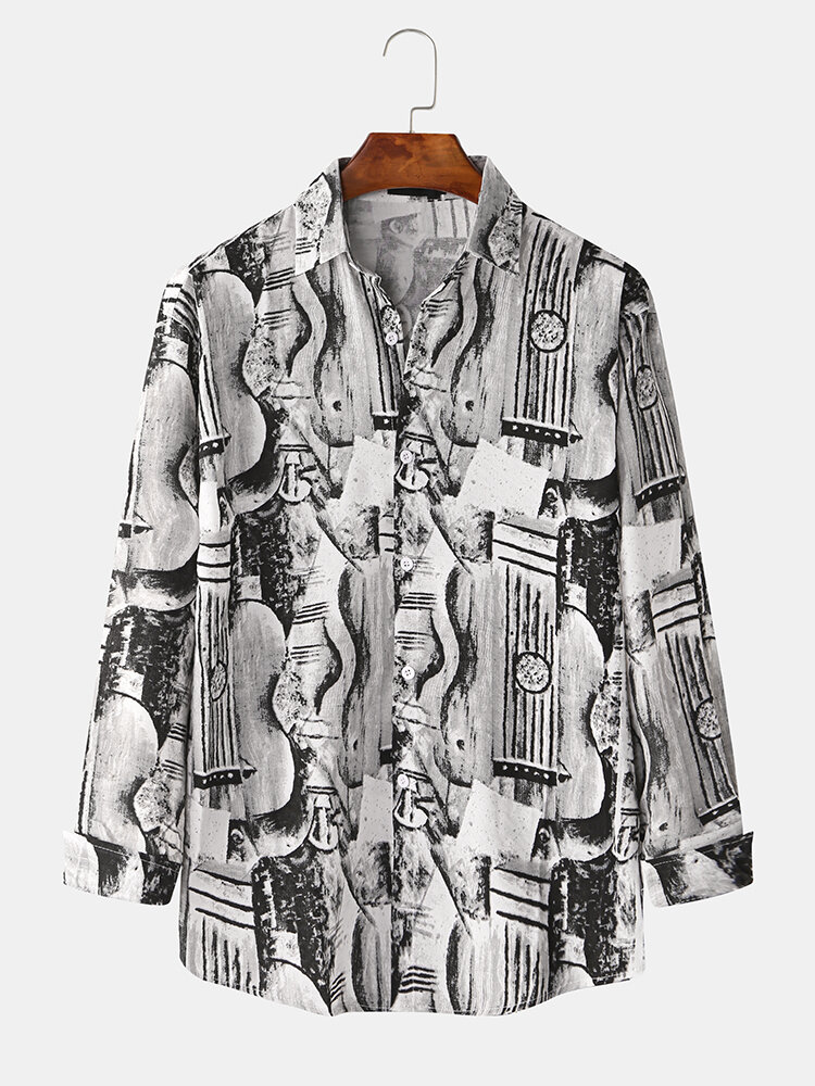 Mens Abstract Sketch Printting Long Sleeve Shirts