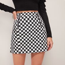 O-ring Zip Up Checked Skirt