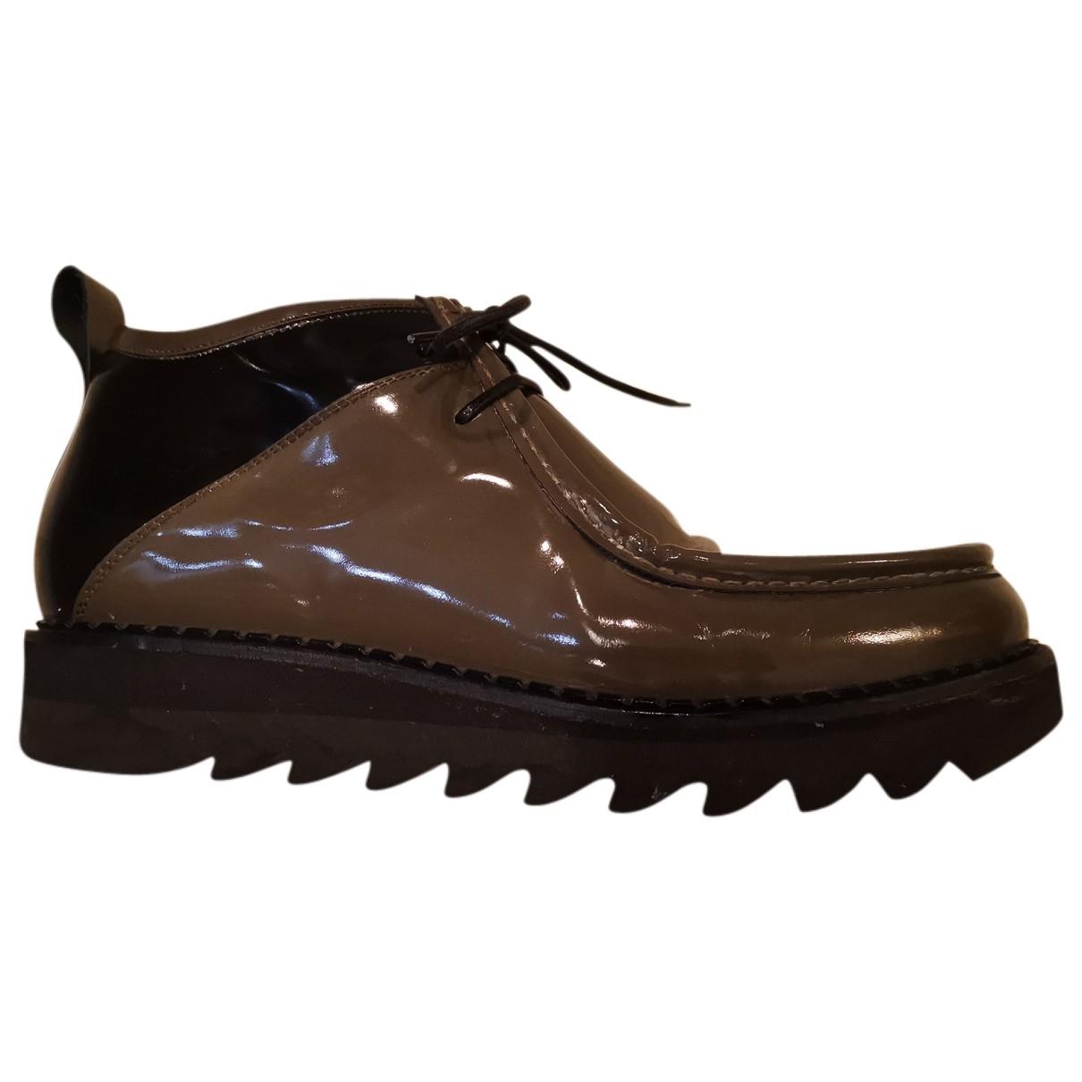 Alberto Guardiani - Bottes.Boots   pour homme en cuir - kaki
