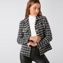 Tweed Mantel mit Taschen Klappe vorn