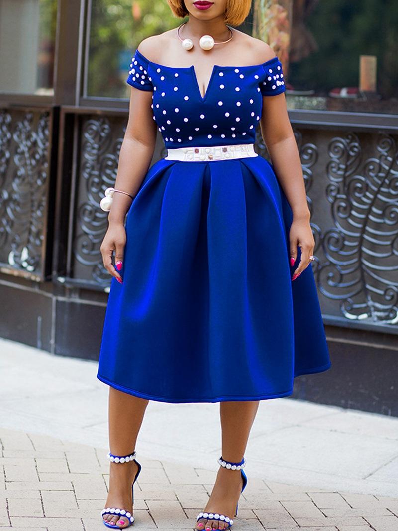 Ericdress Mid-Calf Short Sleeve Bead Plain Dress