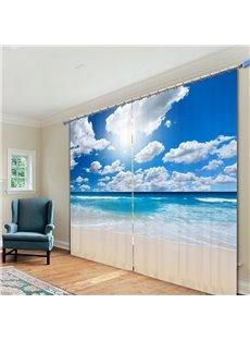 The Wonderful Sunny Day in Beach Printed Custom 3D Polyester Curtain
