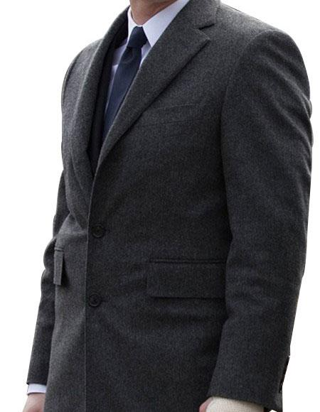 Men's Single Breasted Notch Lapel Charcoal 2 Button Suit