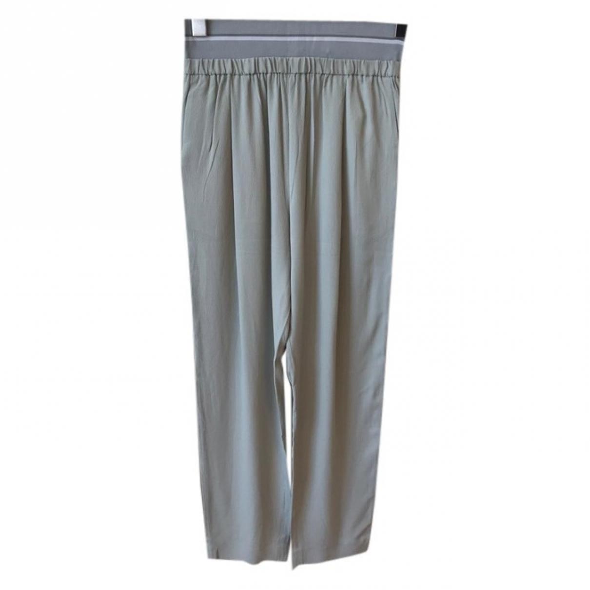 Fabiana Filippi \N Blue Silk Trousers for Women 38 IT