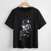 Plus Planet Print Short Sleeve Tee