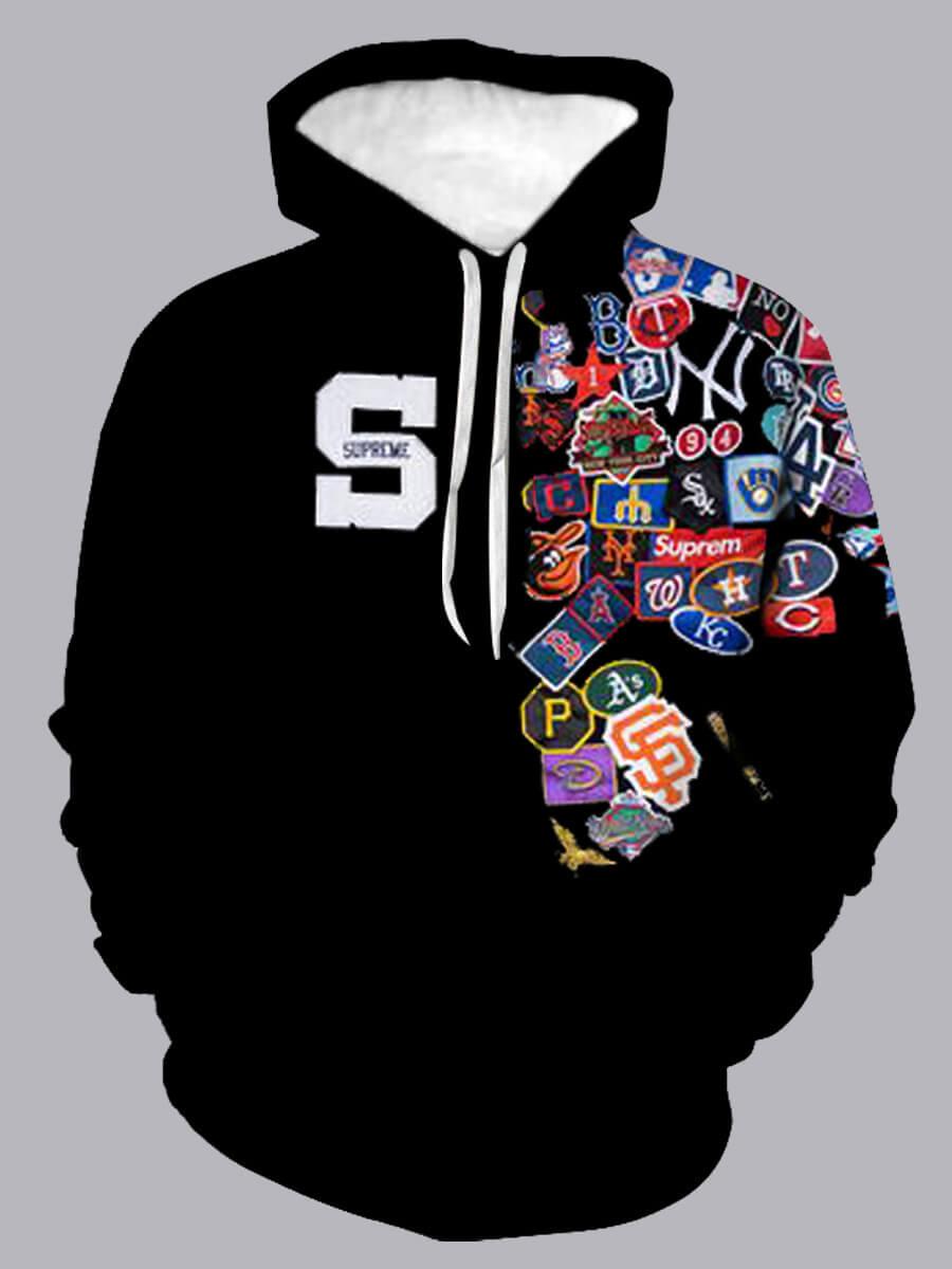 LW Lovely Casual Hooded Collar Print Black Men Hoodie