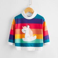 Toddler Girls Cartoon Unicorn & Rainbow Striped Sweatshirt