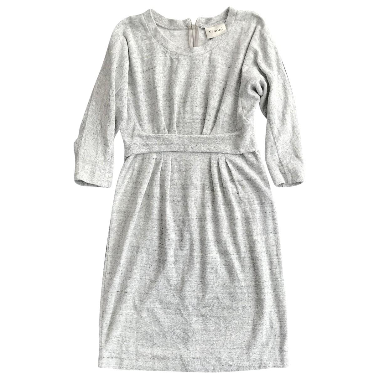 Ganni - Robe   pour femme en coton - gris