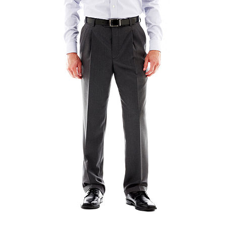 Stafford Travel Pleated Suit Pants - Classic, 36 29, Gray