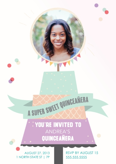 Quinceanera Flat Matte Photo Paper Cards with Envelopes, 5x7, Card & Stationery -Sweet Cake Quinceanera