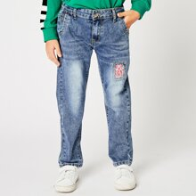 Toddler Boys Patched Washed Jeans