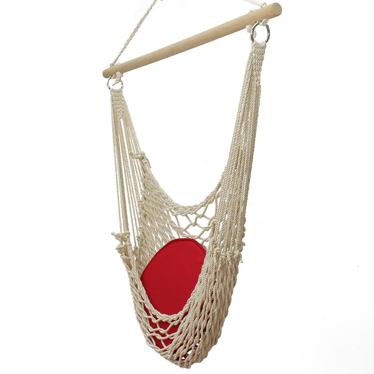 Hanging Swing Garden Patio Hammock Chair Cotton Rope Wooden Bar White Hammock Chair