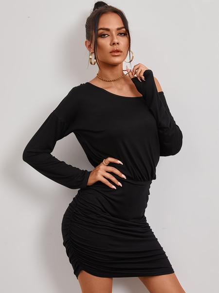 YOINS Black Ruched Cold Shoulder Long Sleeves Mini Dress