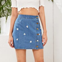 Daisy Embroidery Button Front Denim Skirt